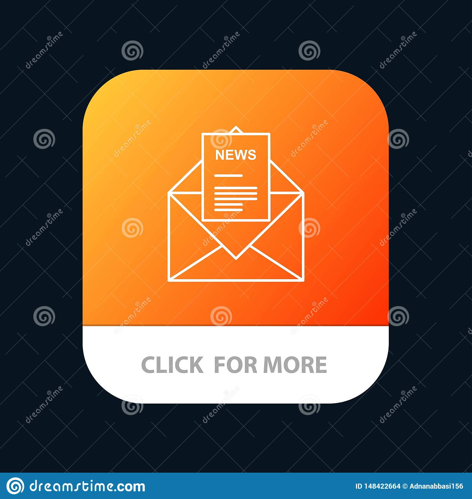 News, Email, Business, Corresponding, Letter Mobile App Button. Android and IOS Line Version