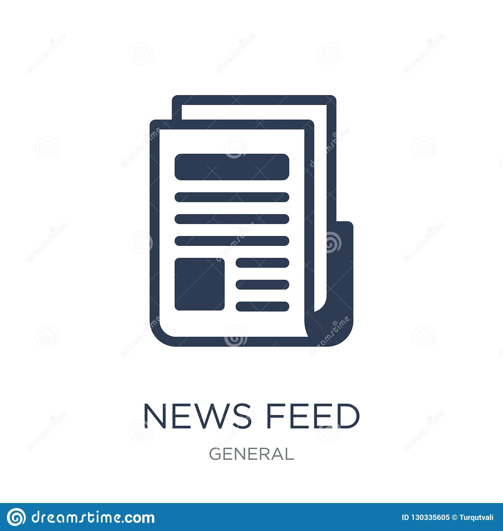 news feed icon. Trendy flat vector news feed icon on white background from General collection