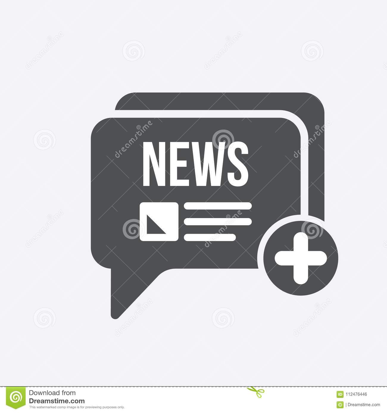 News Icon With Add Sign News Icon And New Plus Positive Symbol