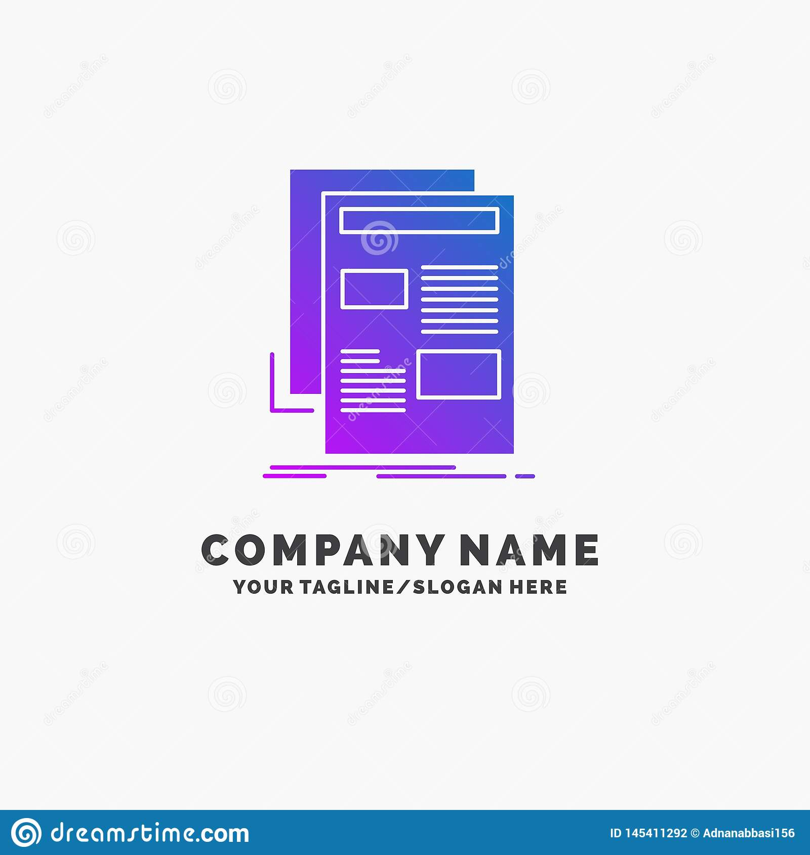 news, newsletter, newspaper, media, paper Purple Business Logo Template. Place for Tagline