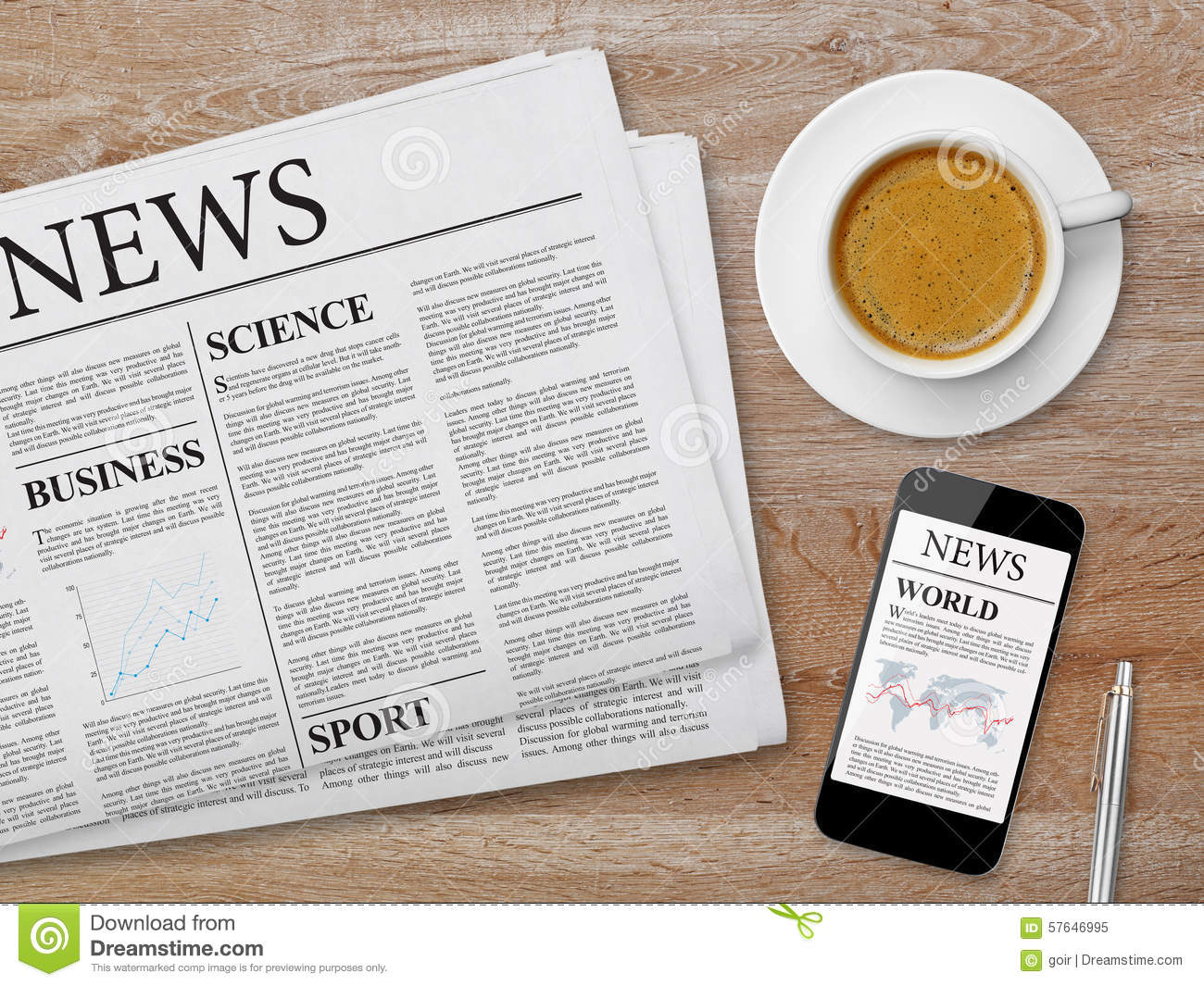 News Page On Tablet Newspaper And Coffee Stock Photo