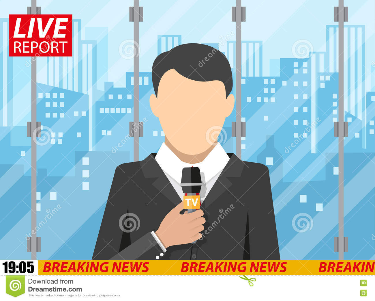 News Reporter Men With Microphone Office Building Stock Vector
