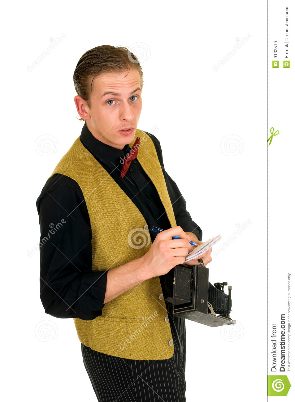 news reporter  retro style stock photo