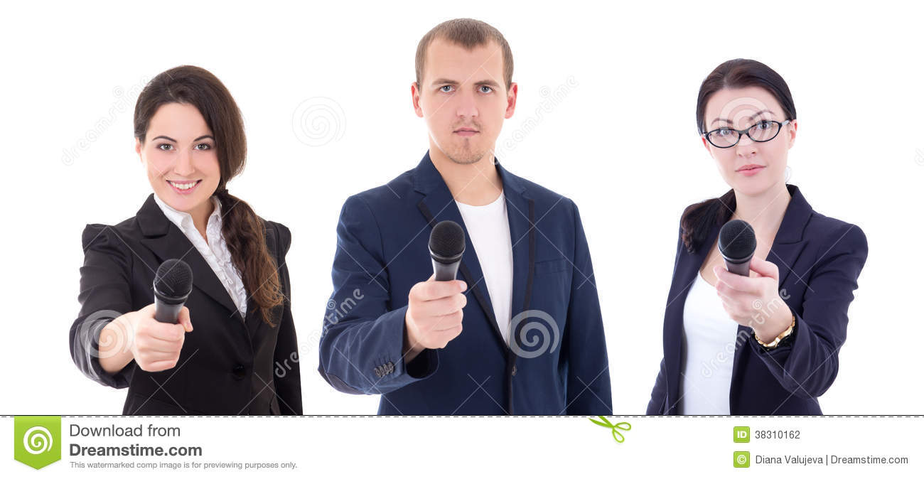 news reporters or journalists interviewing a person holding up t news reporters or journalists interviewing a person holding up t