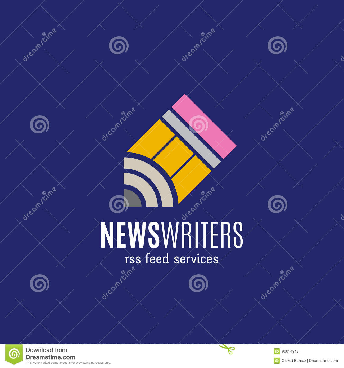 News Writers RSS Feed Services Abstract Vector Sign, Emblem