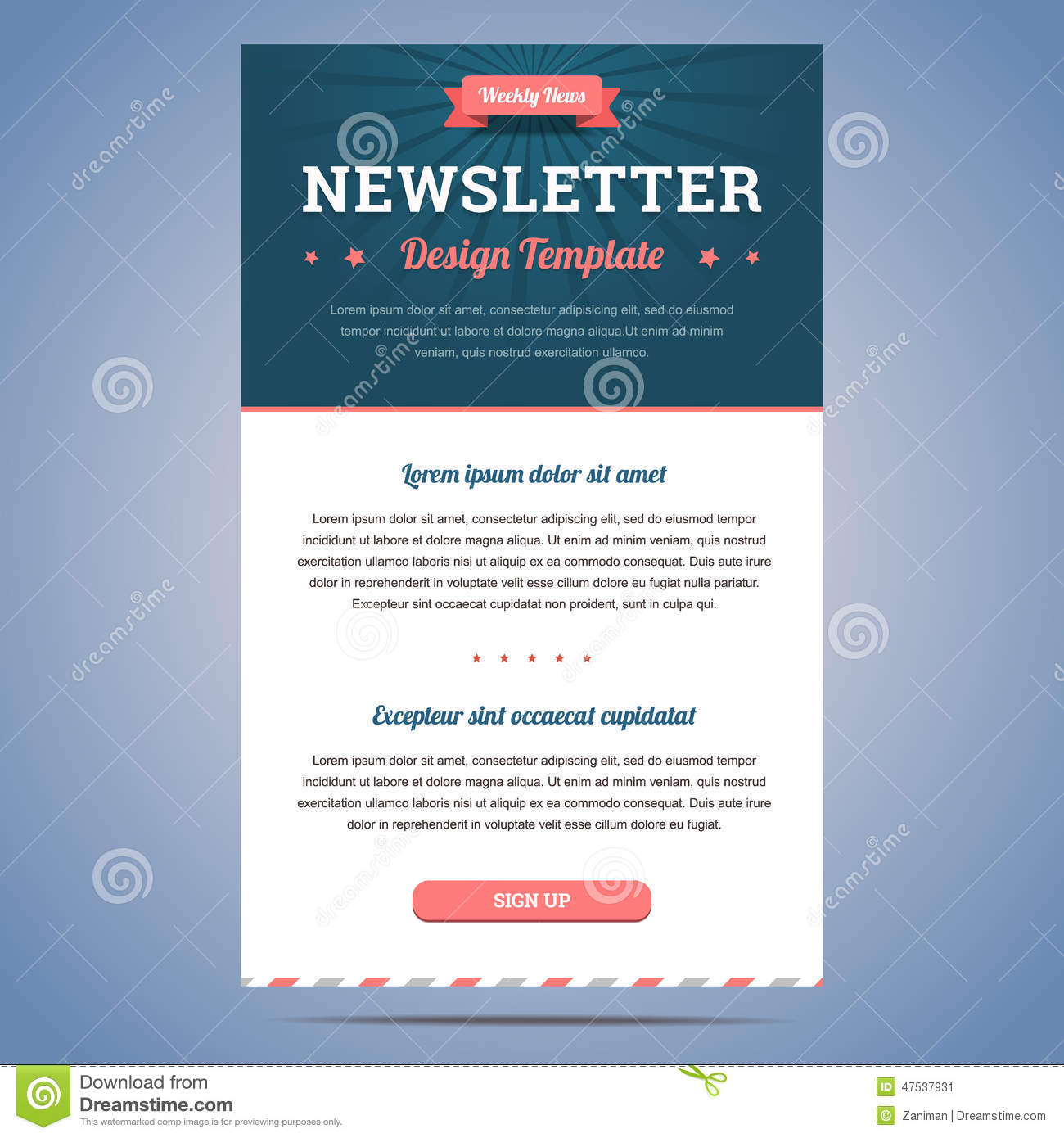 Newsletter design template for weekly company news with header and ...
