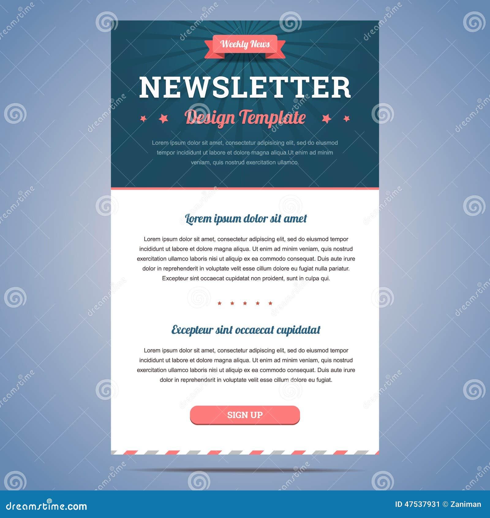 Newsletter Design Template Stock Vector Image 47537931