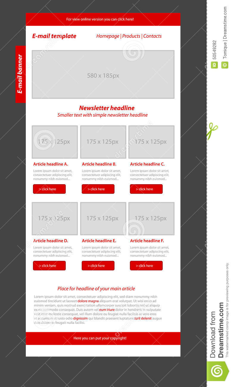 newsletter red template with business style stock illustration