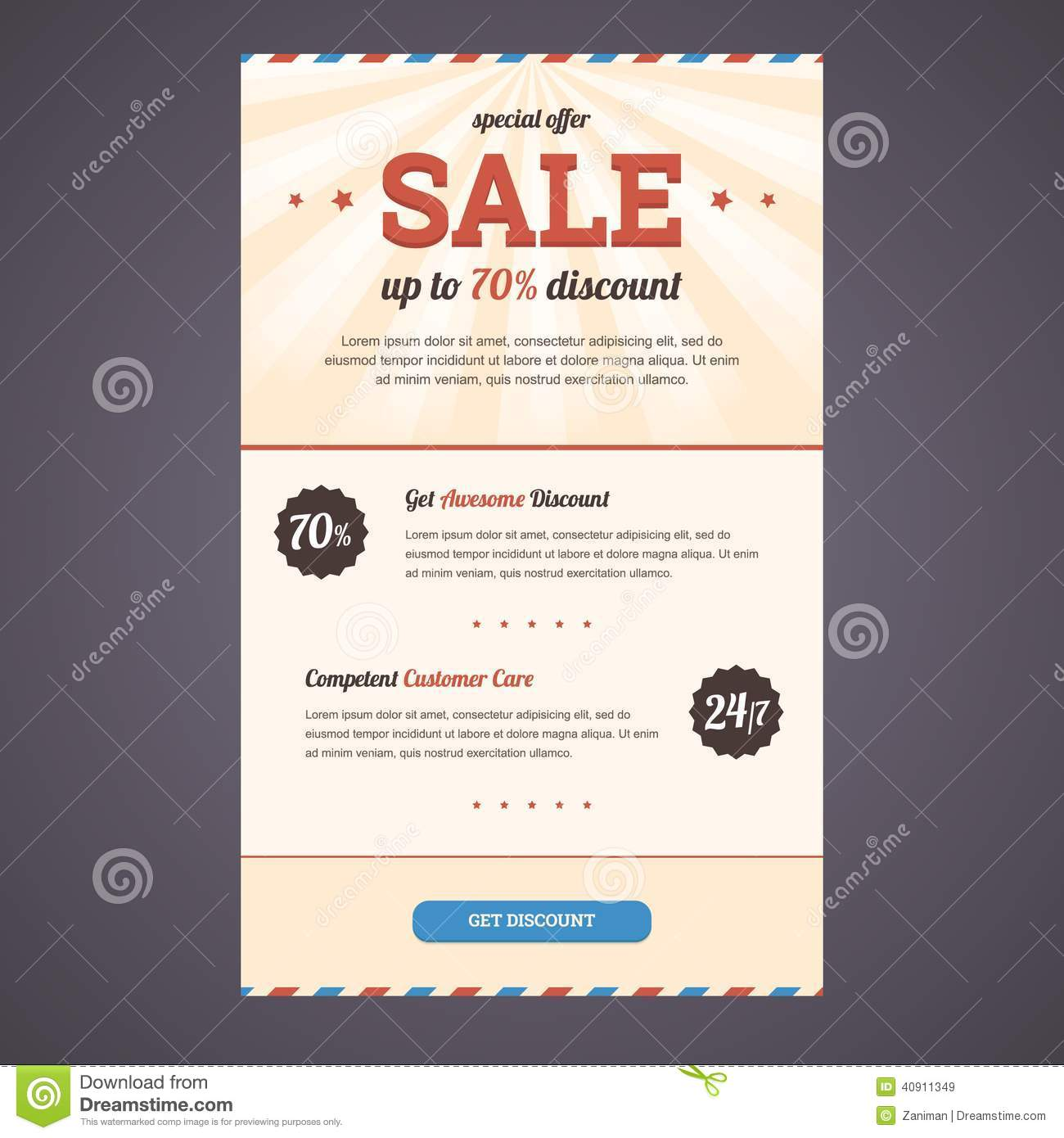 newsletter template design with discount offer stock vector