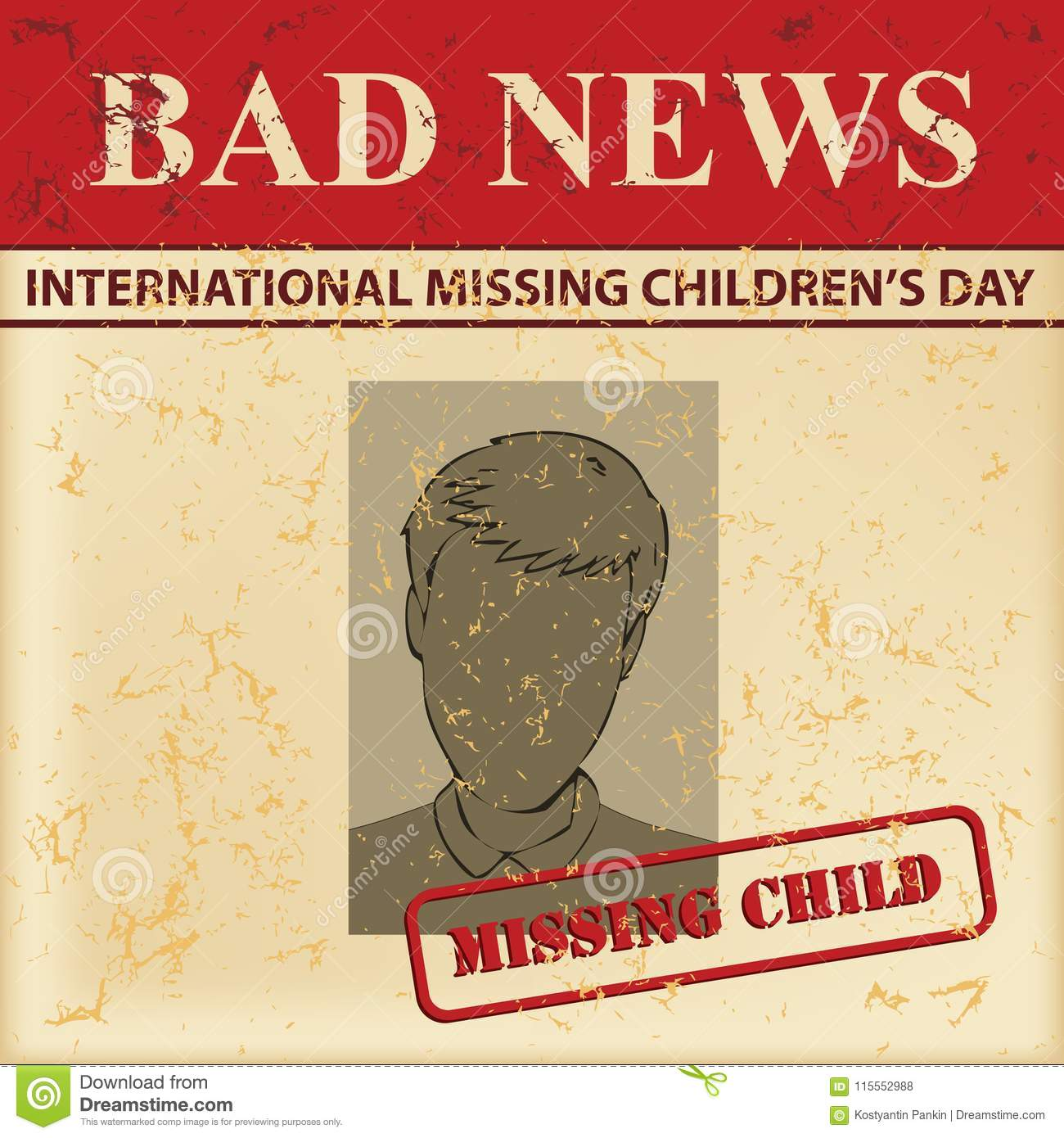 Missing Childrens Day Stock Vector Illustration Of Vintage
