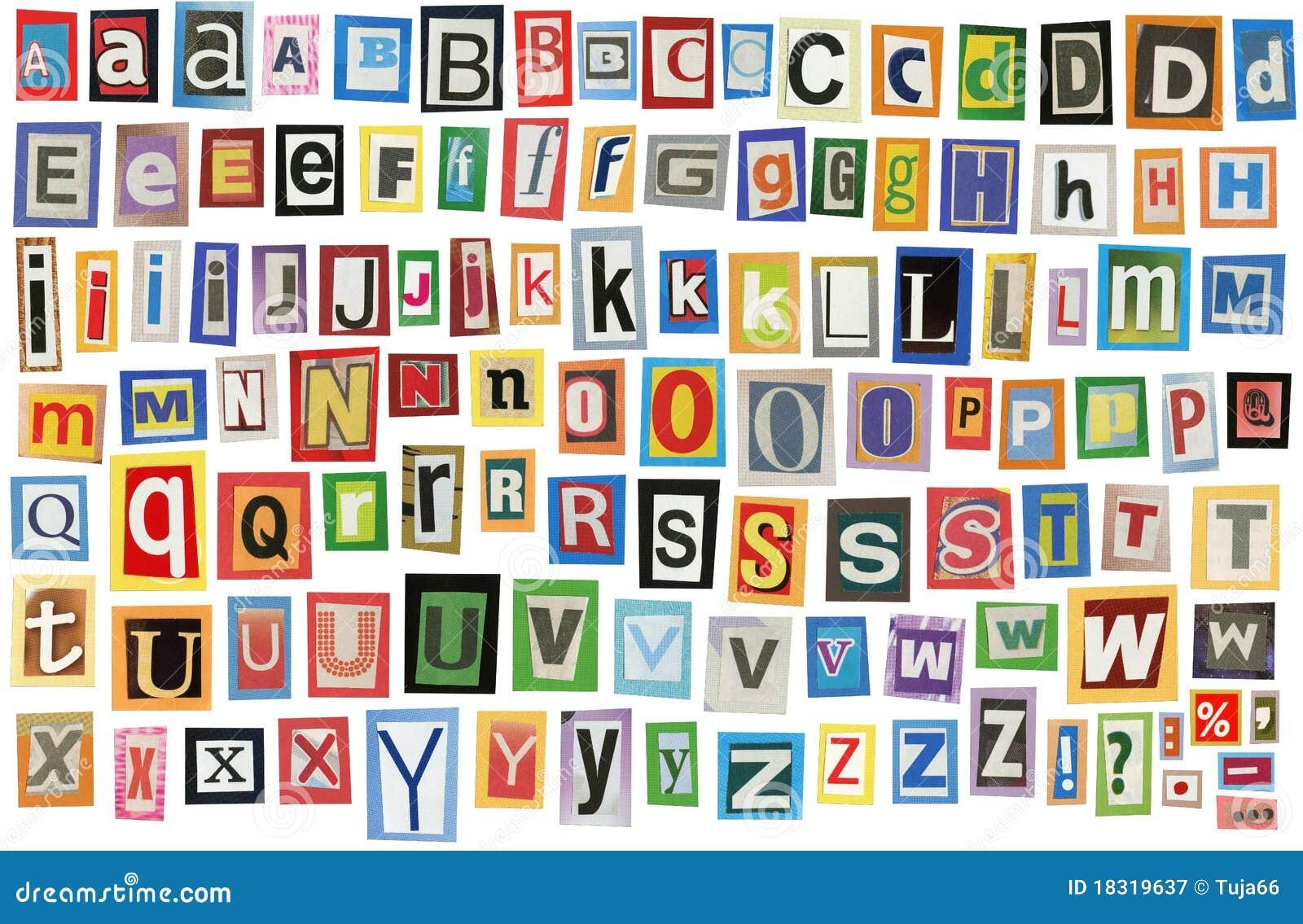 Newspaper Alphabet Royalty Free Stock Photography