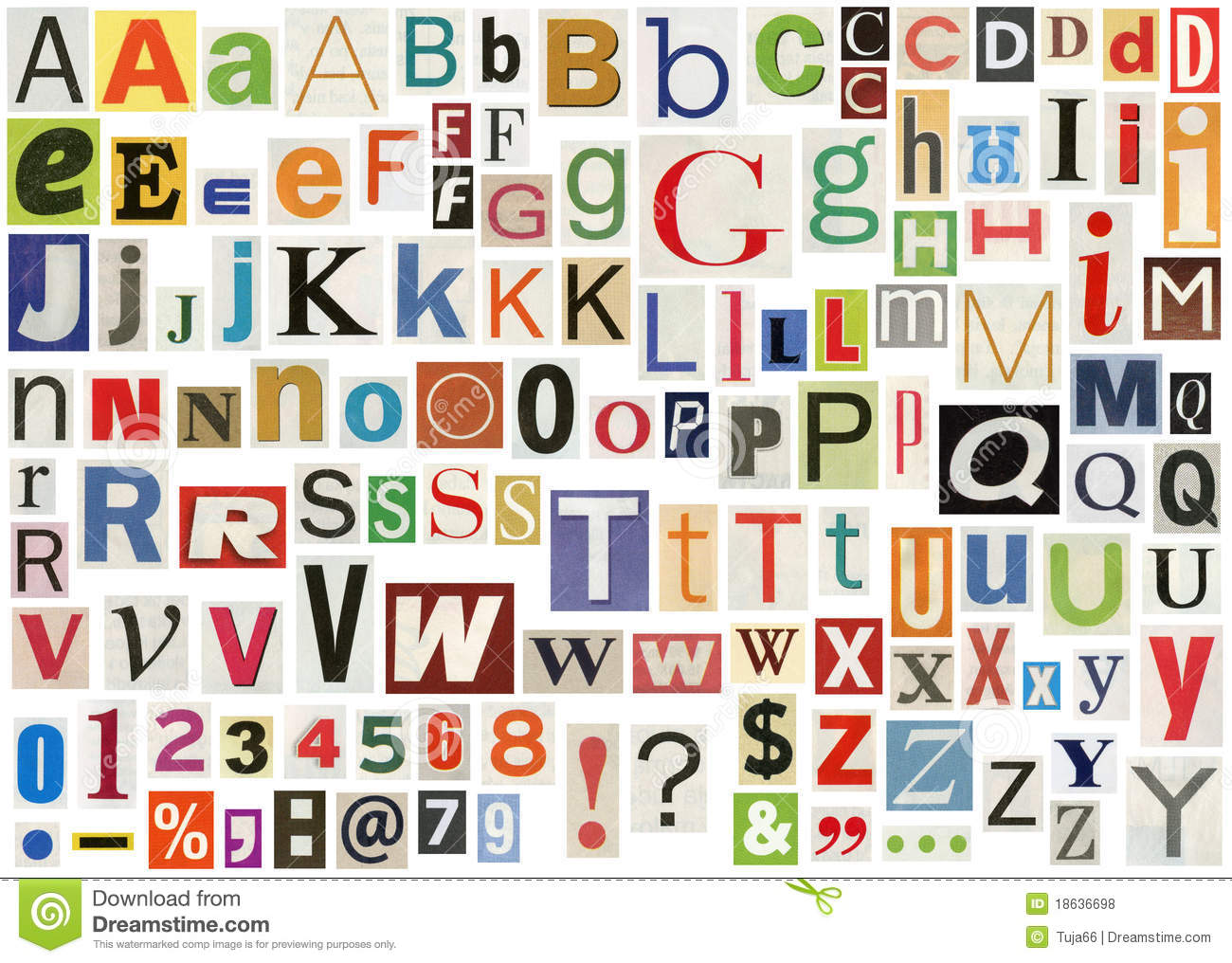 Alphabet E letters to print and cut out free - Newspaper Alphabet With Letters Numbers And Symbols Isolated On Letters Of