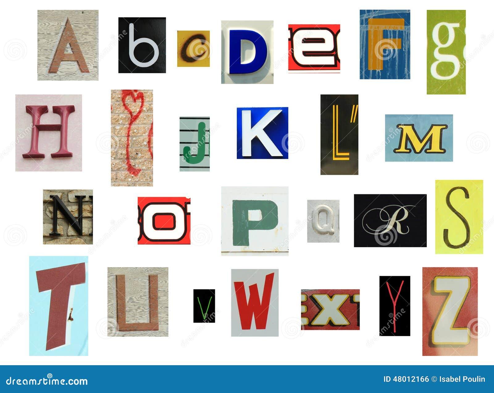newspaper writing alphabet