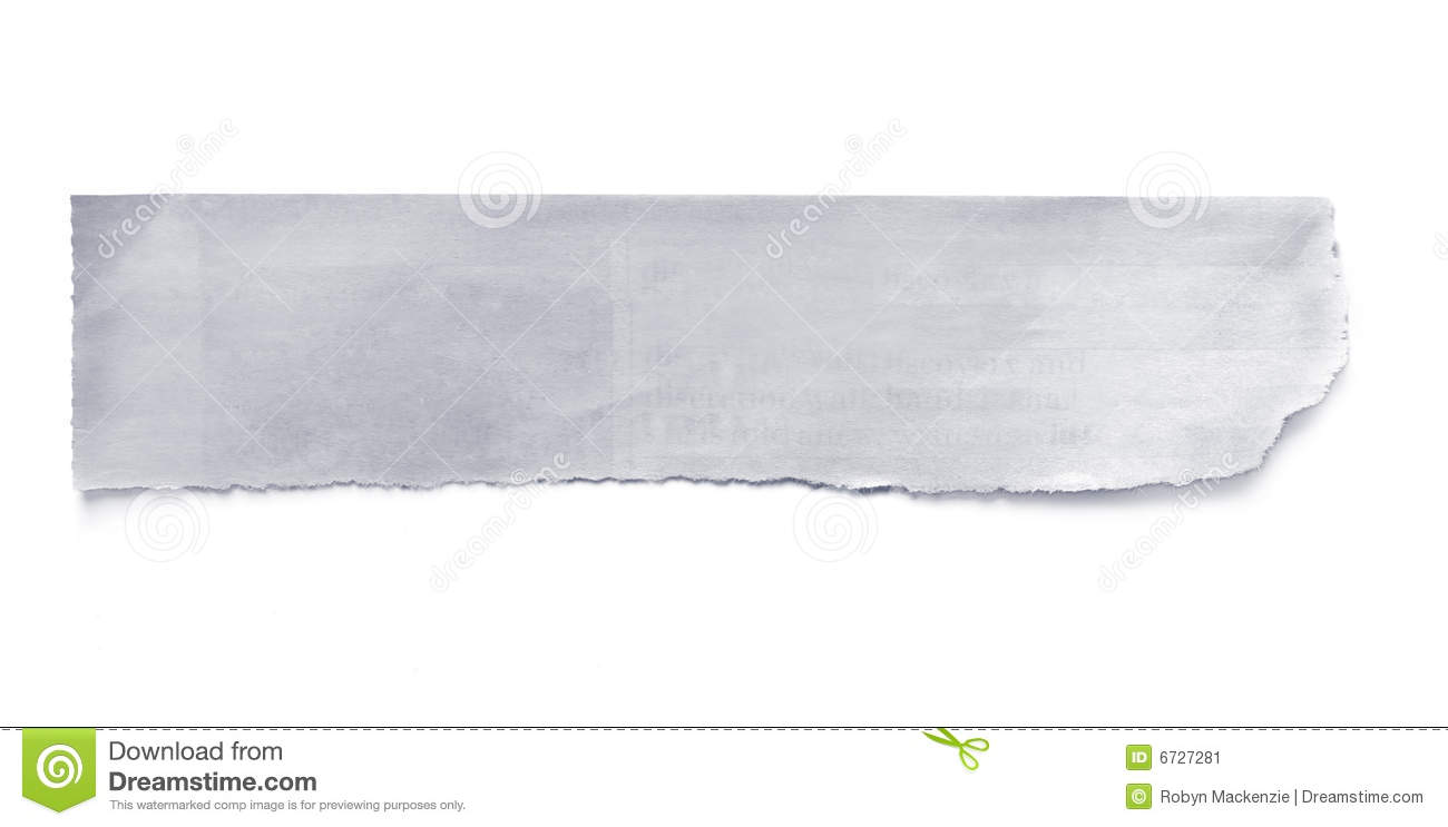 Torn newspaper banner, ready for your message. Isolated on white with ...