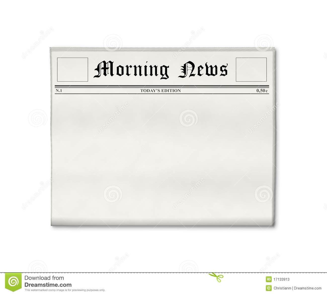 newspaper blank template stock illustration. illustration of