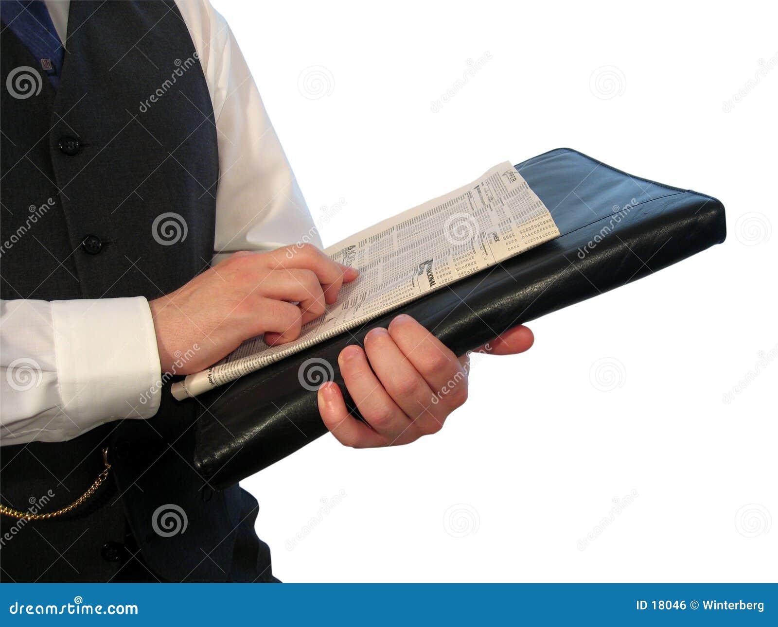 Newspaper on Briefcase