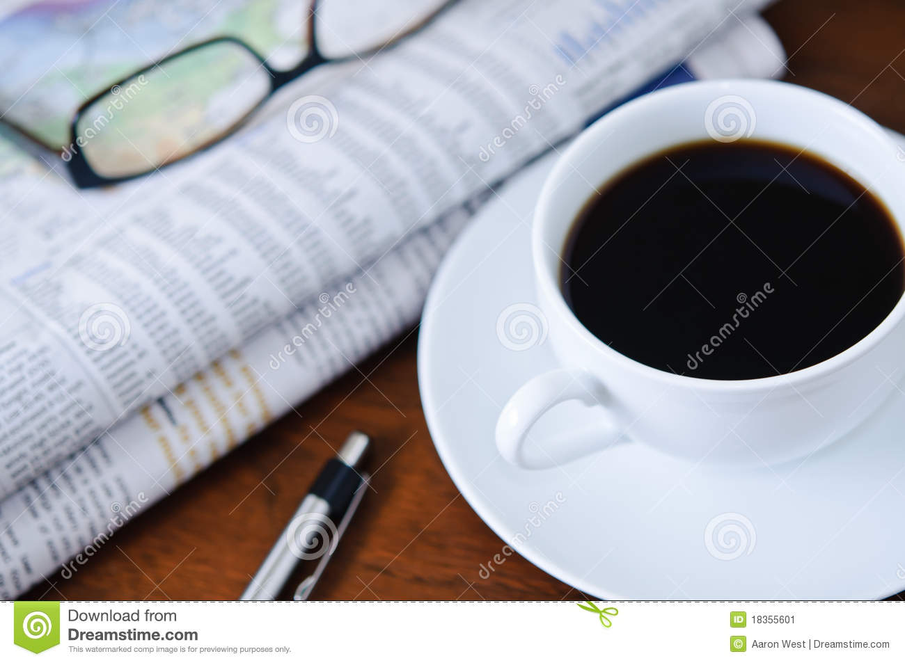 Newspaper, Coffee And Glasses 2 Stock Image - Image of graph, culture: 18355601