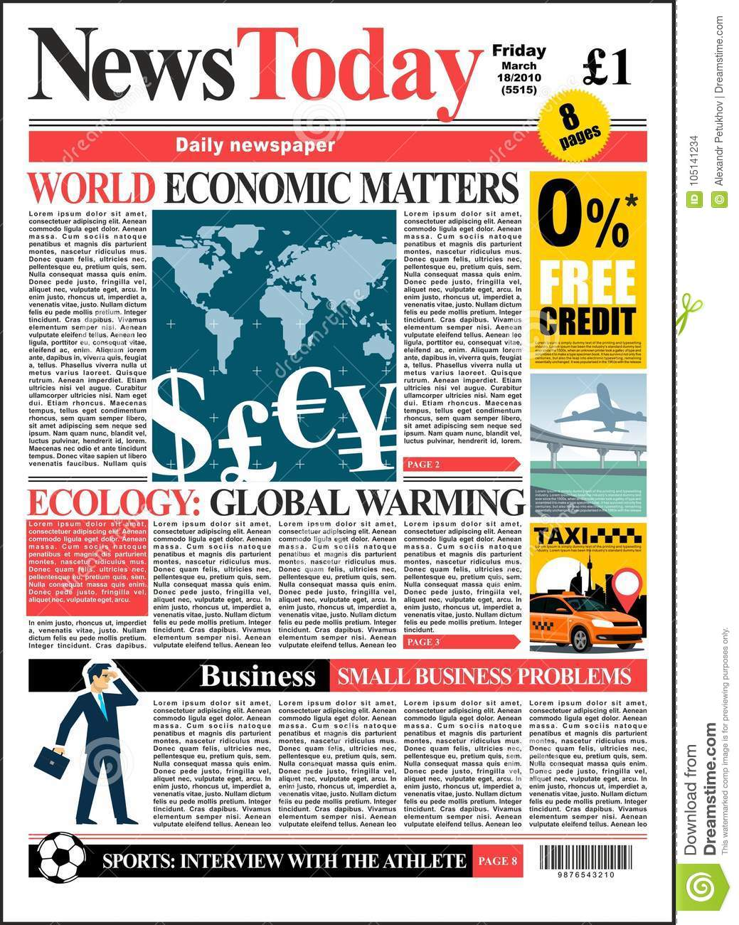 Newspaper Cover Realistic Colored Page With Illustrations Template