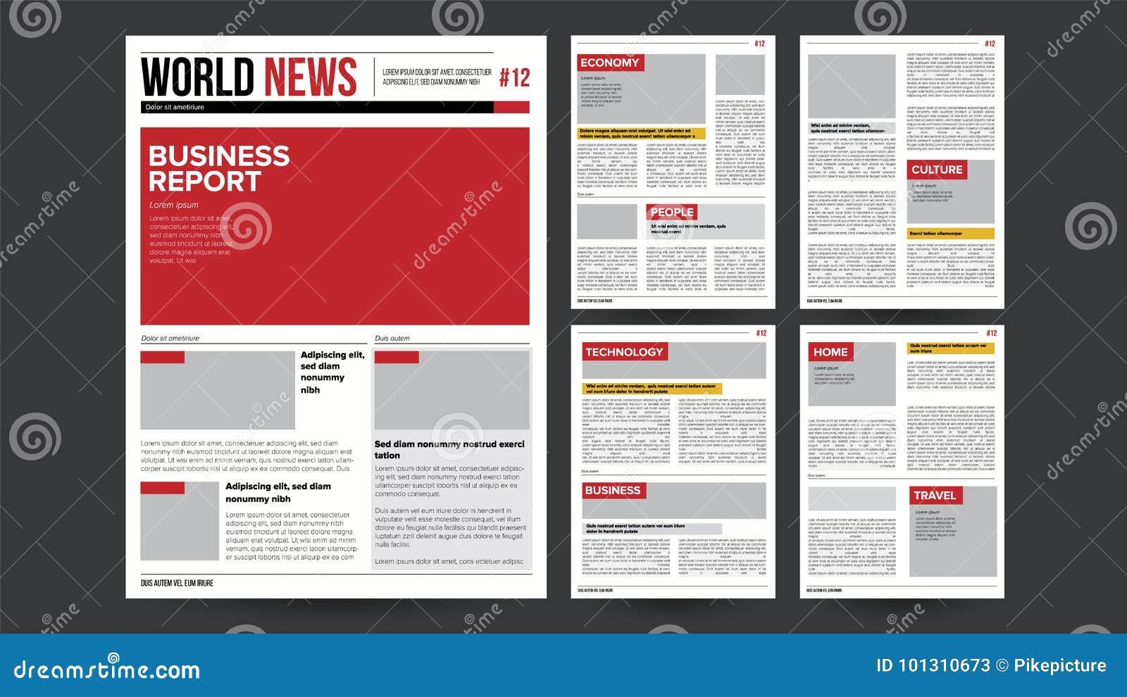 Newspaper Design Blank Vector Financial Articles Advertising