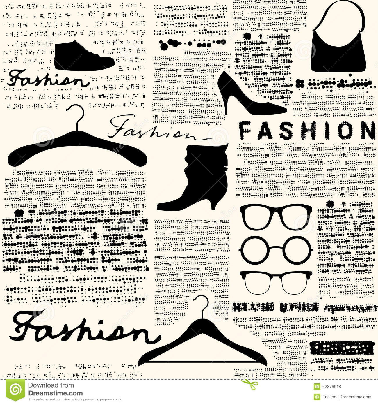 Newspaper Fashion Background Stock Vector