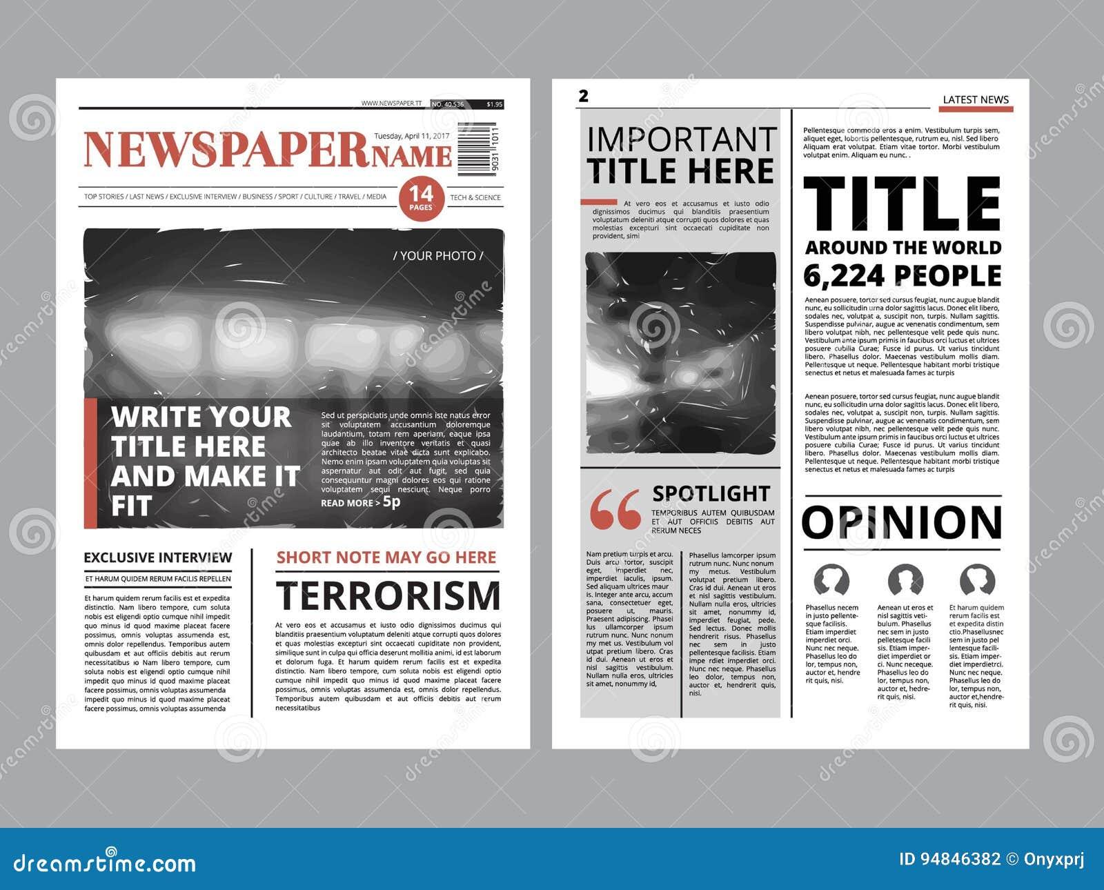 Newspaper Headline And Photo Template Stock Image Image Of