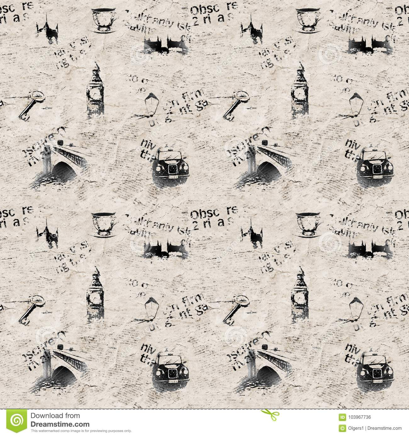 newspaper grunge london background stock illustration - illustration