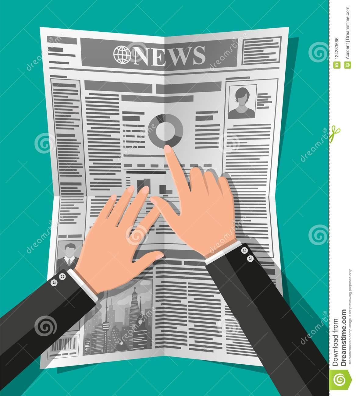 Daily newspaper in hands stock vector  Illustration of