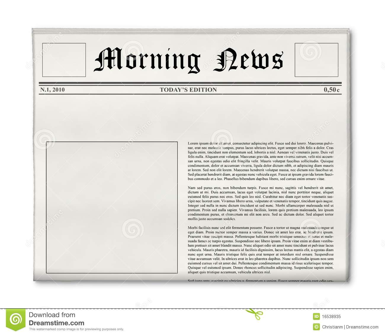 Newspaper headline and photo template stock image image for Newspaper article template online