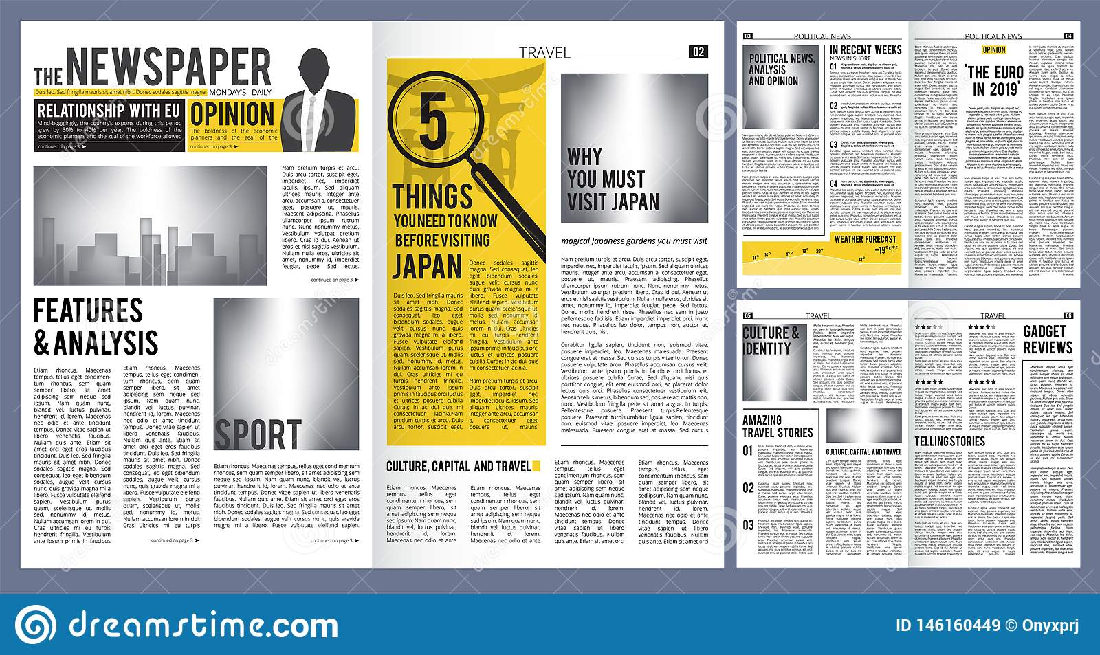 Newspaper Headline  Press Layout Template Of Newspaper Cover