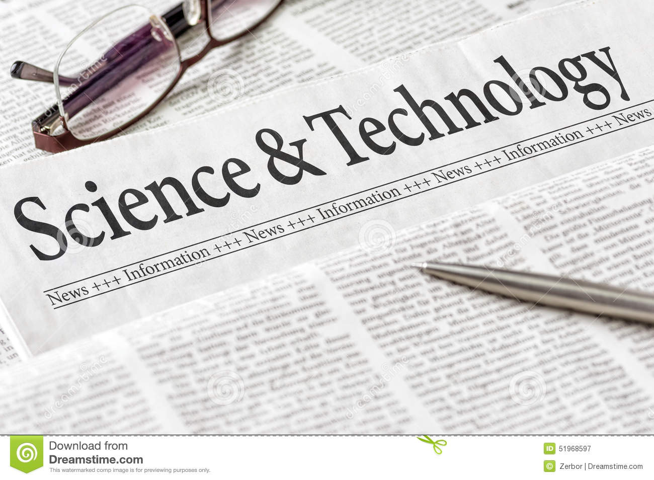 Newspaper With The Headline Science And Technology Stock ...