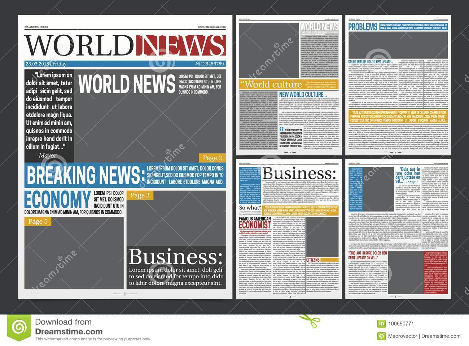 Newspaper Headlines Template Realistic Poster Stock Vector