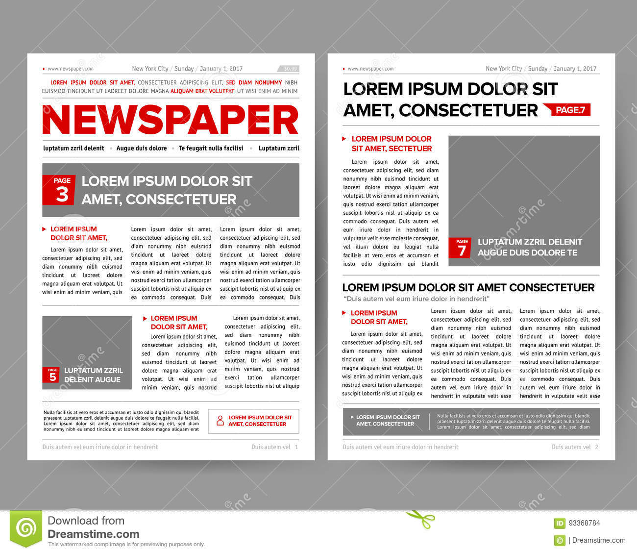 daily newspaper journal design template with two page opening
