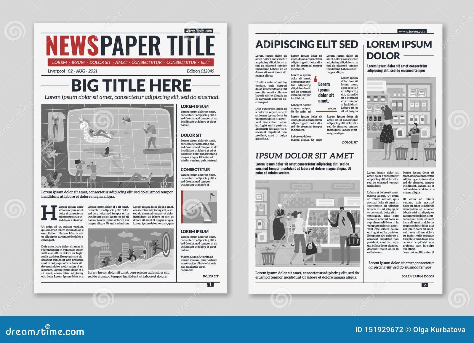 Newspaper Layout  News Column Articles Newsprint Magazine Design