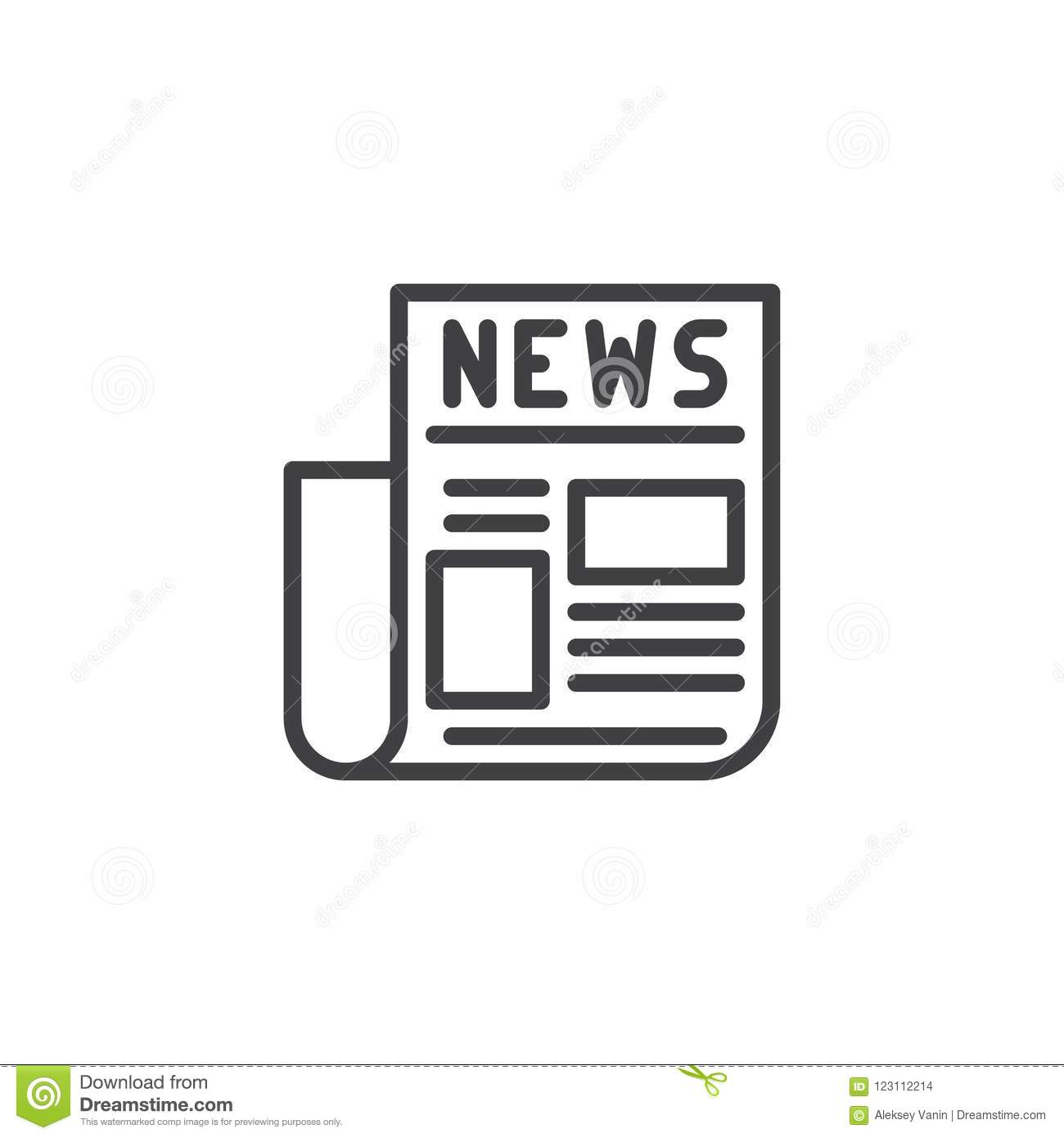 Newspaper Outline Icon Stock Vector Illustration Of Editable