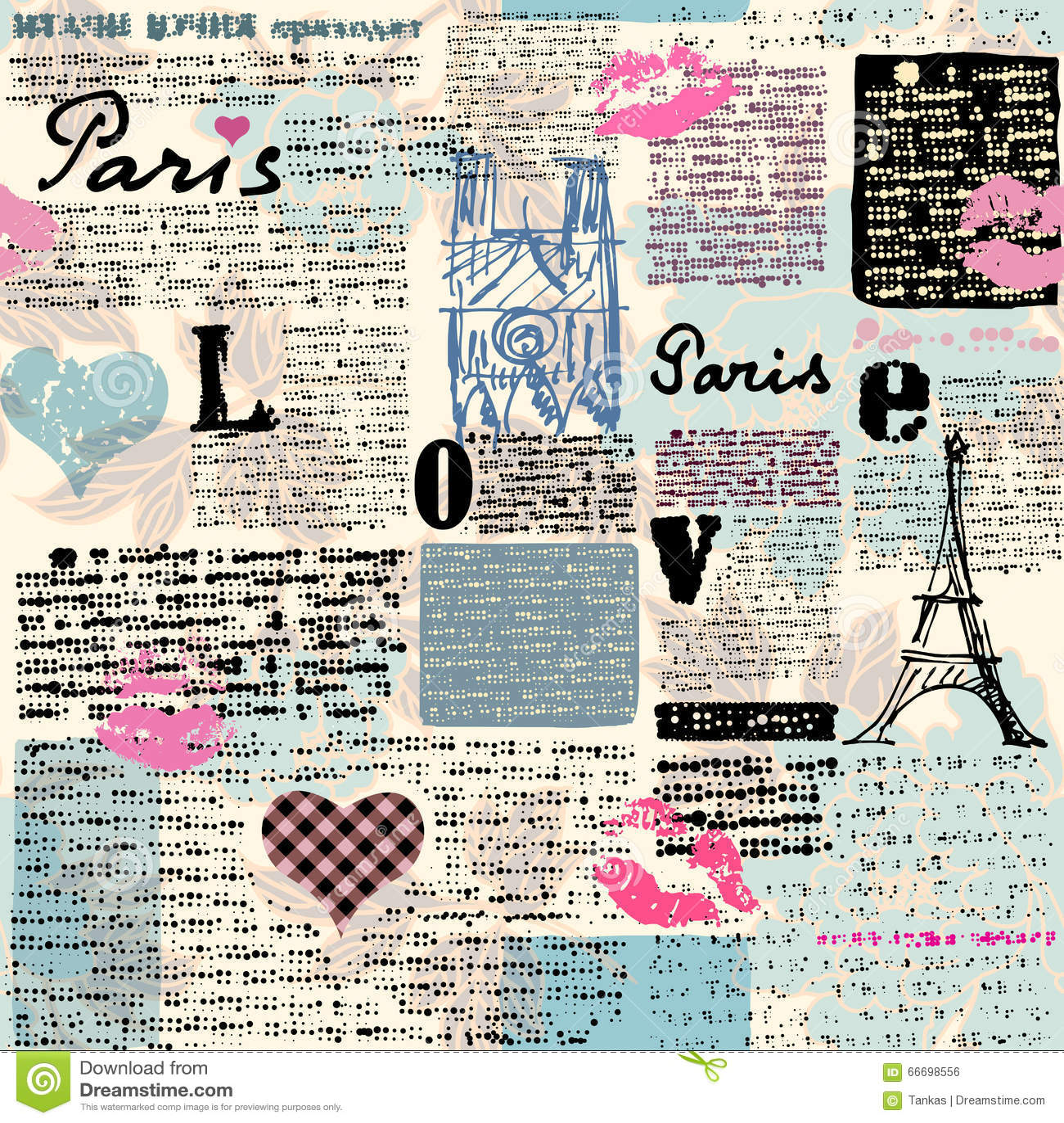 newspaper paris with a kisses stock vector illustration of pattern scrapbook 66698556. Black Bedroom Furniture Sets. Home Design Ideas
