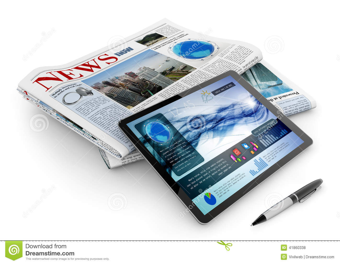 Daily newspaper, tablet and pen