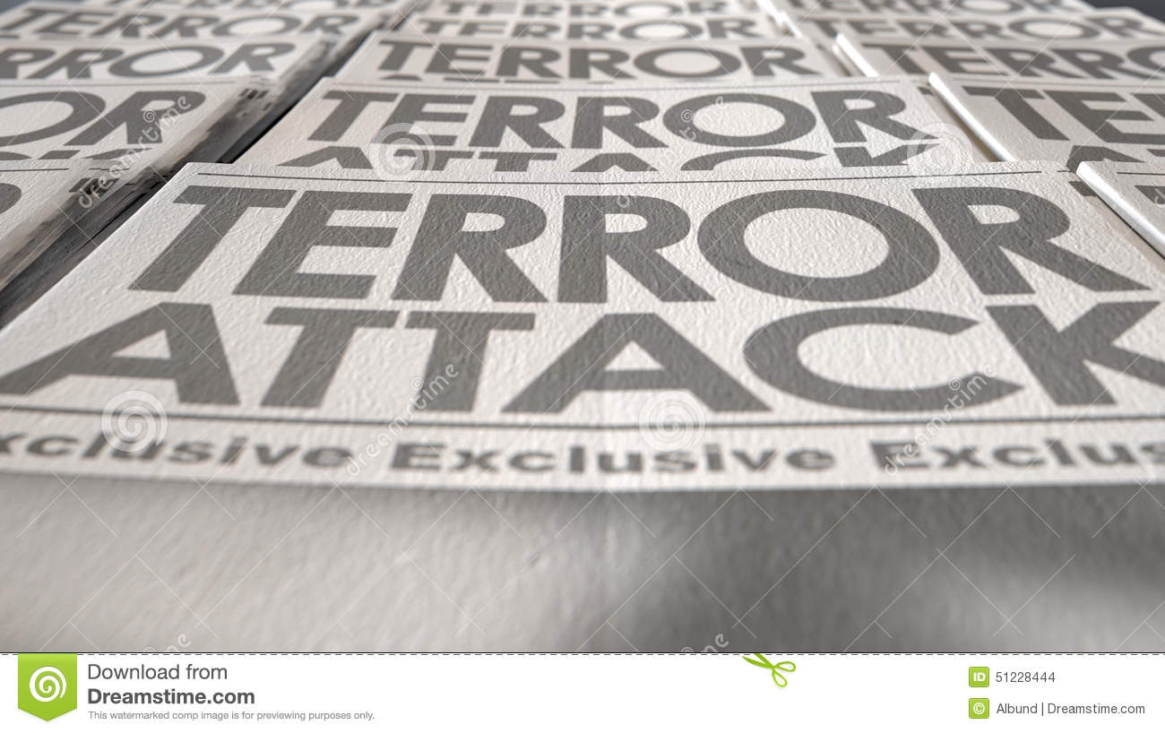newspaper terrorism press run end stock illustration - illustration