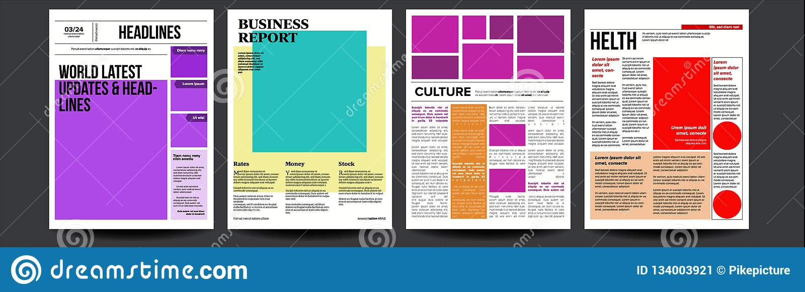 Newspaper Vector  With Headline, Images, News Page Articles
