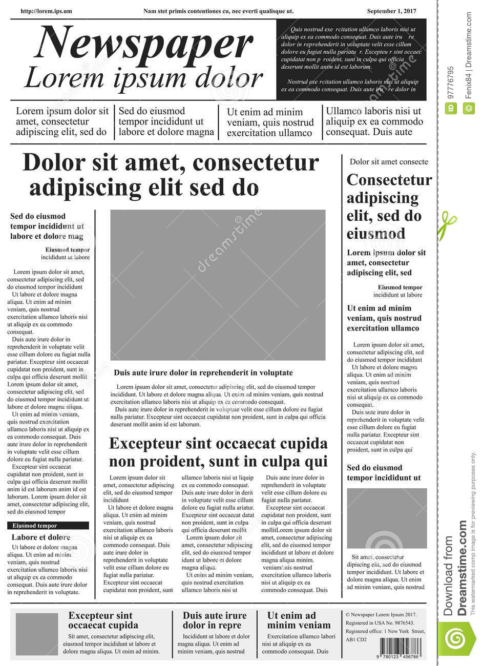 1ce486808 Newspaper. Vector Template With Lorem Ipsum Text And Pictures. H ...