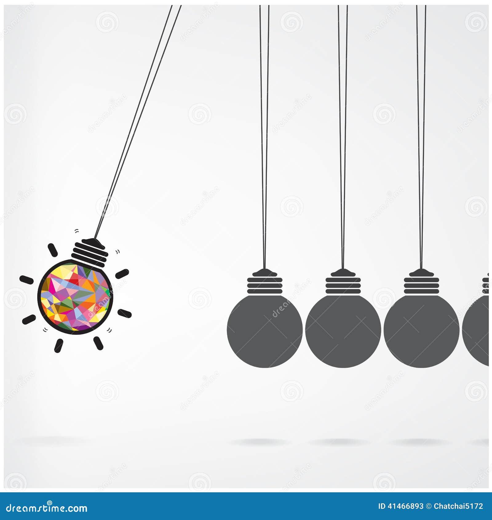 newtons cradle concept on backgroundcreative light bulb