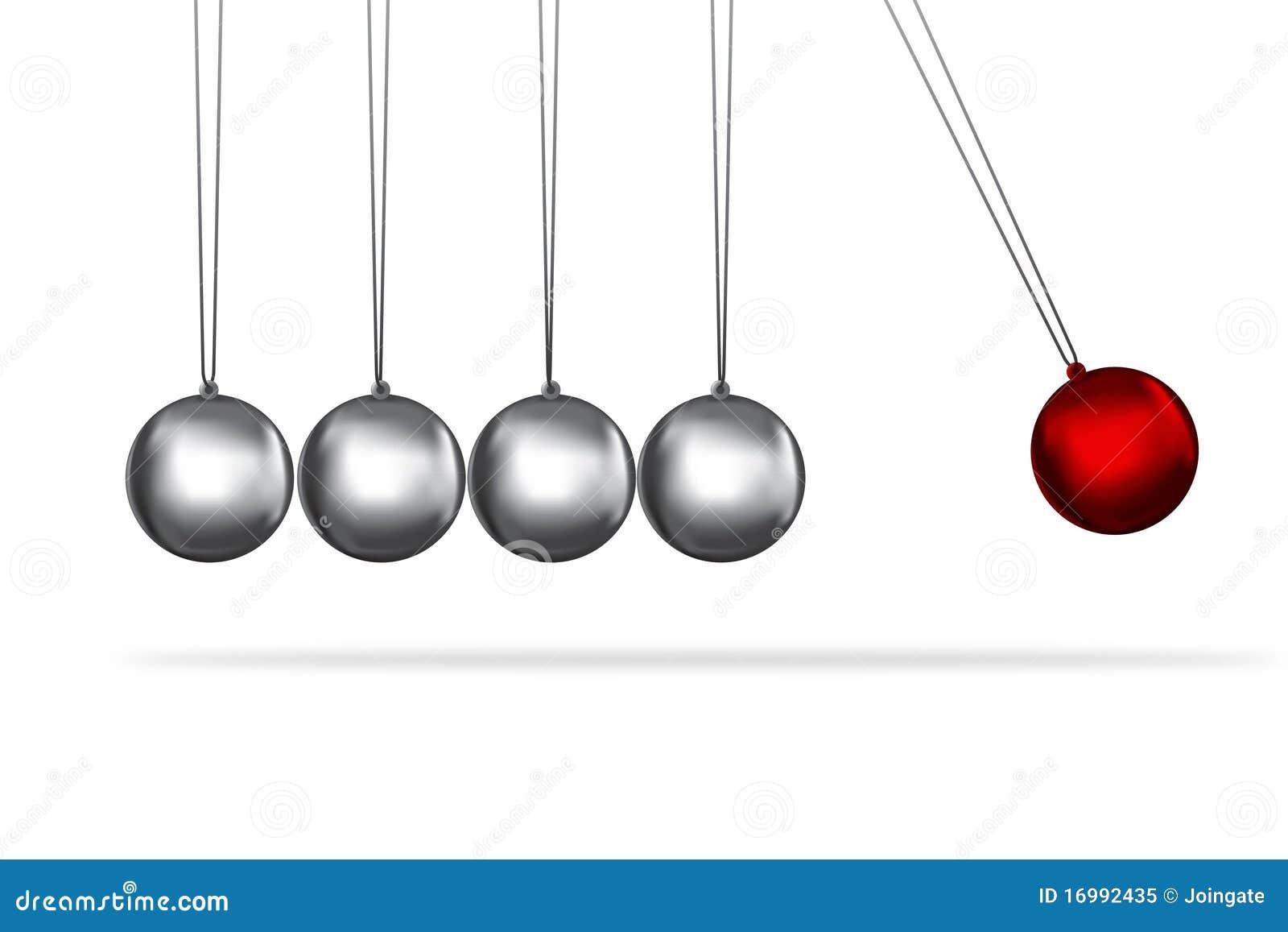 newtons cradle silver balls concept stock illustration