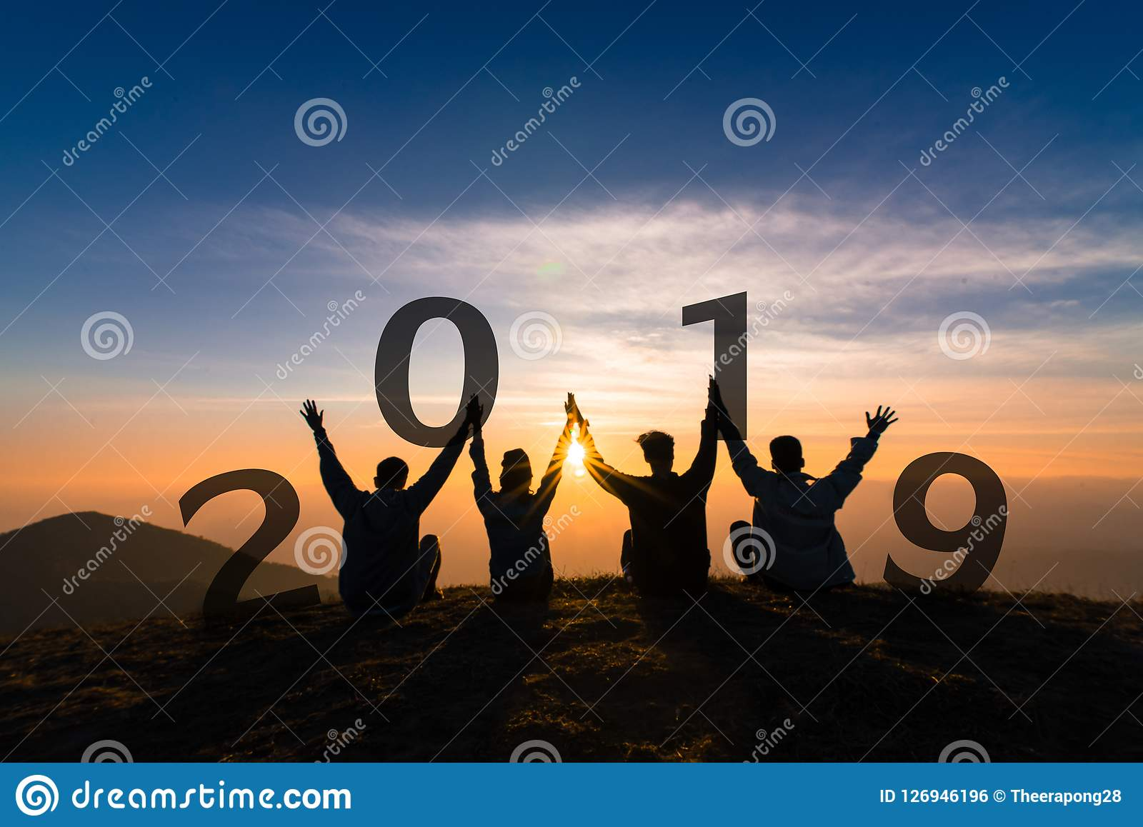 Newyear 2019 concept Silhouette of young friend jumping and hand