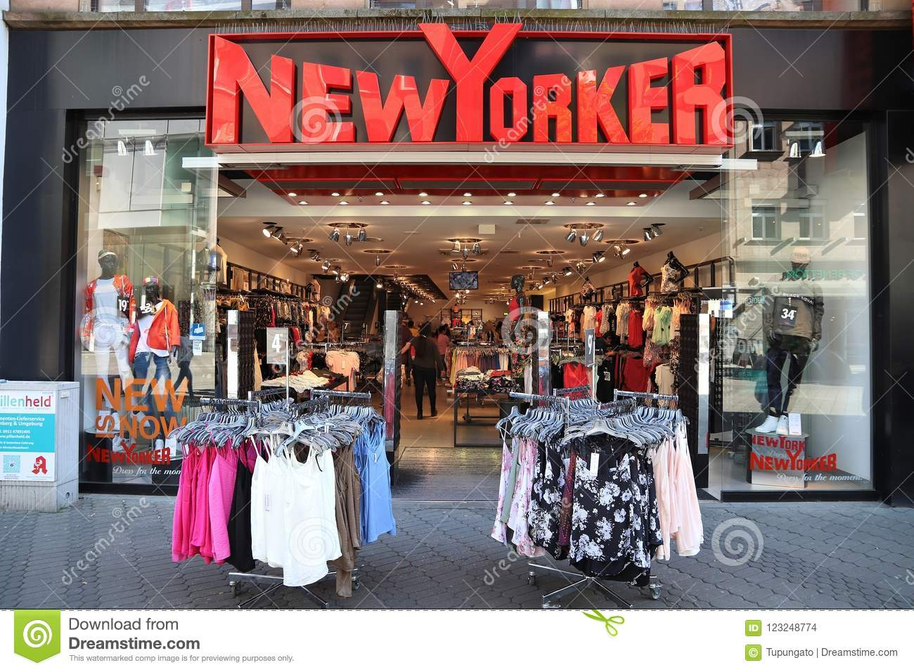 14cd2f508b NUREMBERG, GERMANY - MAY 7, 2018: People visit New Yorker fashion store at  Karolinenstrasse shopping street in Nuremberg, Germany.