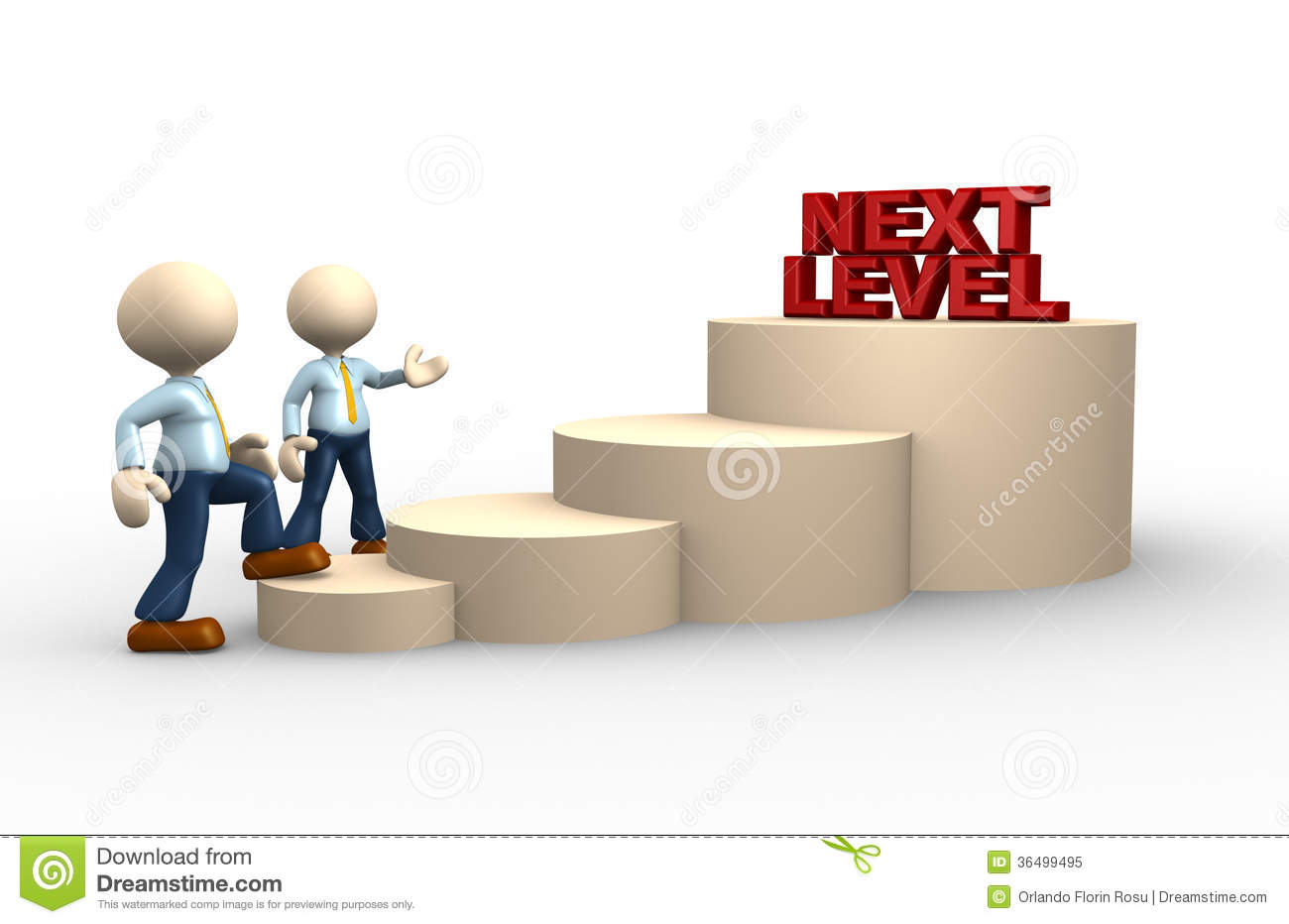 3d people - man, person climbs the ladder of next level.