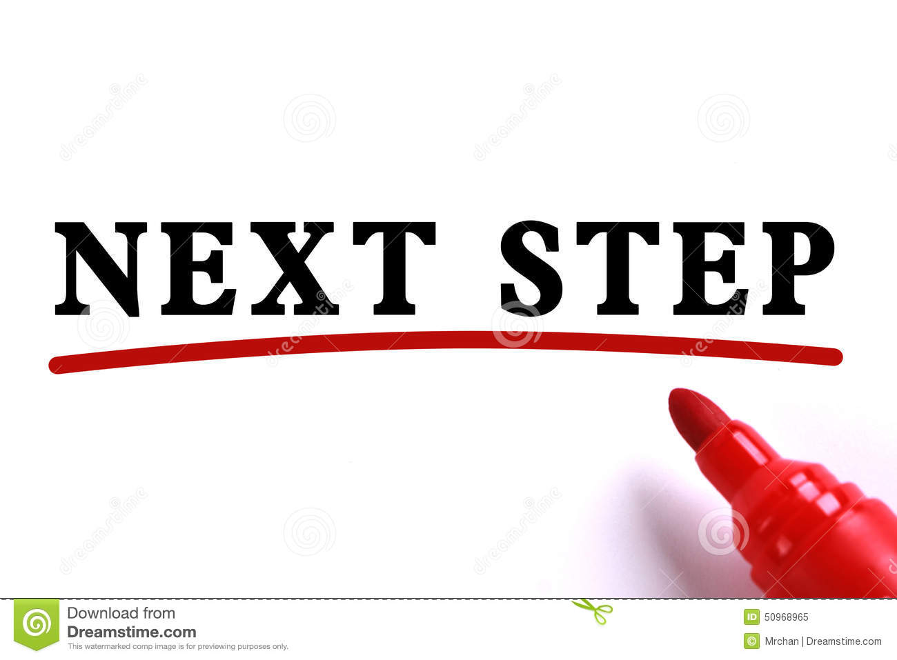 Next Step Concept text is on white paper with red underline which is ...