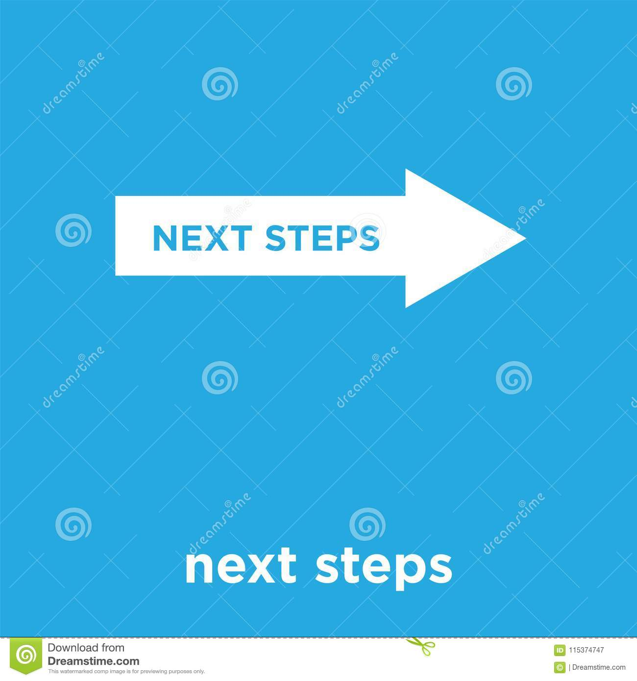 next steps icon isolated on blue background