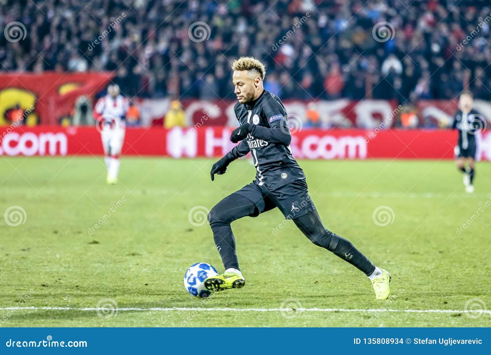 Neymar playing on a UEFA Champions League match