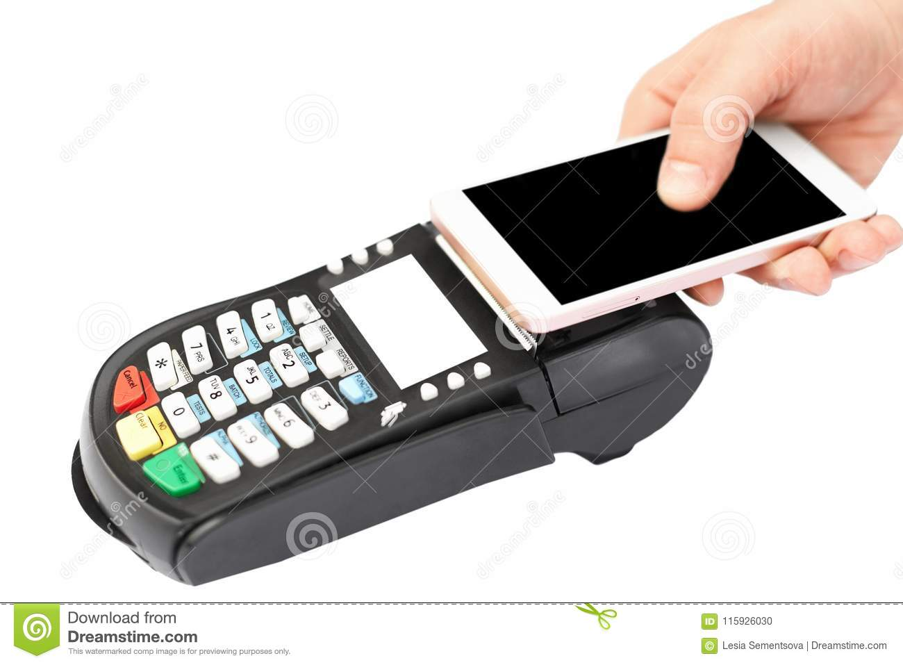 NFC Payment Concept  Unrecognizable Person Uses Contactless