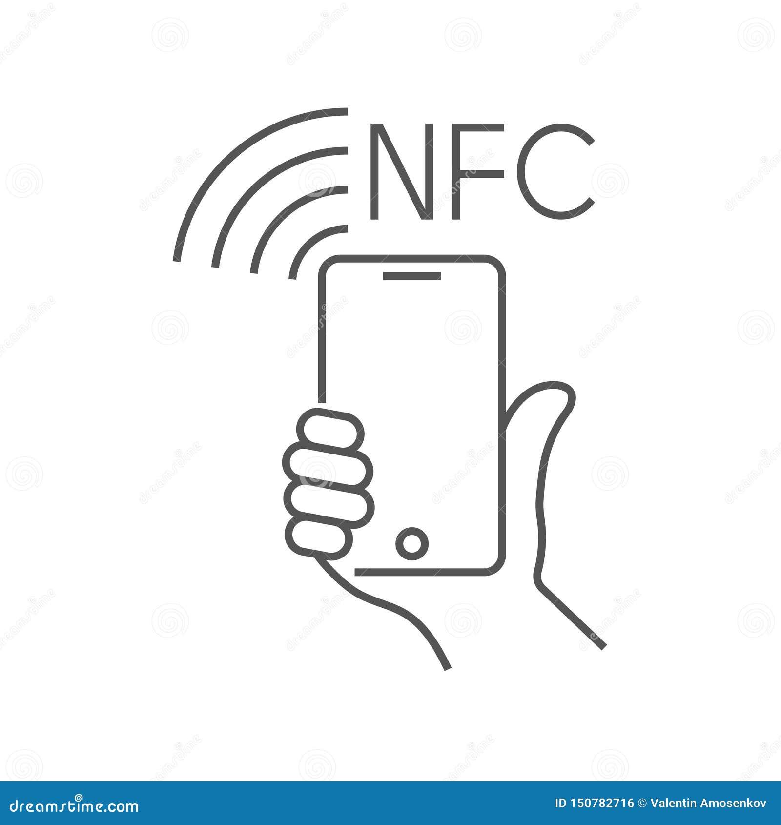 NFC-teknologibetalning, vektorounlinesymbol Hand och smartphone Contacless trådlös betalning med det plast- kortet för krediterin