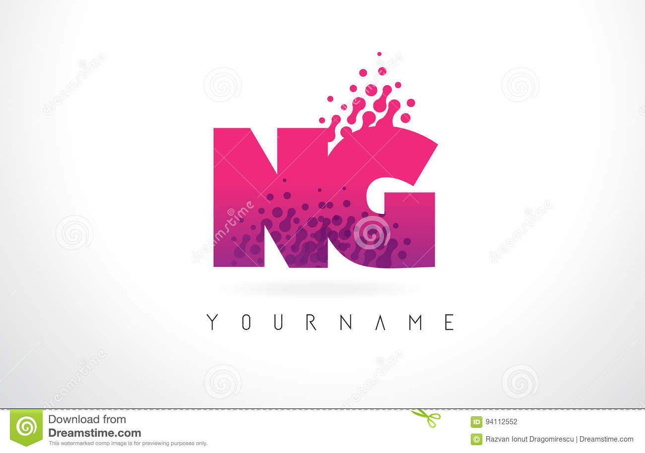 NG N G Letter Logo With Pink Purple Color And Particles Dots Des ...